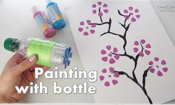 Ζωγραφική για παιδιά: Ζωγραφίστε λουλούδια με πλαστικά μπουκάλια