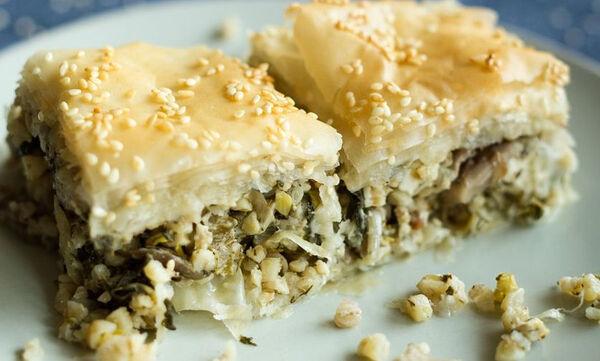 Πίτα με σπανάκι, πλιγούρι και μανιτάρια - Νόστιμη και θρεπιτκή