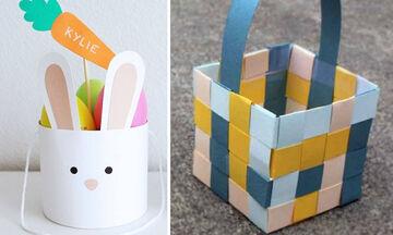Πασχαλινά καλαθάκια από χαρτί: Πώς θα τα φτιάξετε & ιδέες για να τα γεμίσετε