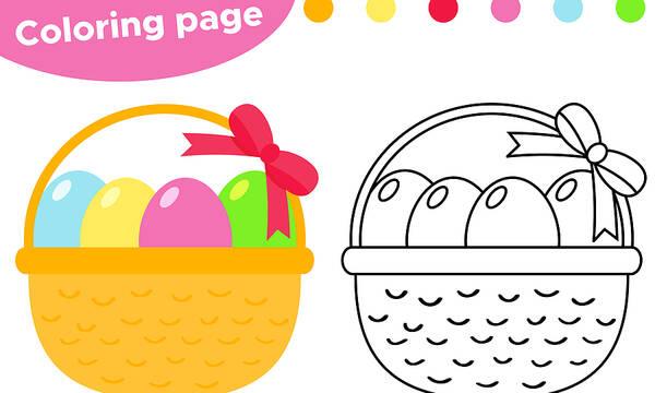 Ζωγραφίζοντας πασχαλινά καλάθια - Χρωμοσελίδες για παιδιά