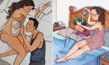 Υπέροχα σκίτσα αποτυπώνουν το μεγαλείο της μητρότητας και της εγκυμοσύνης