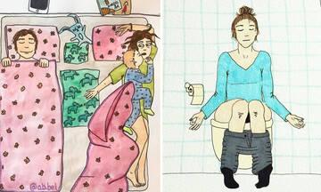 Χιουμοριστικά σκίτσα περιγράφουν τις απλές καθημερινές στιγμές μίας μαμάς