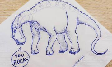 Μαμά ζωγραφίζει δεινοσαύρους σε χαρτοπετσέτες για να εμψυχώσει την κόρη της