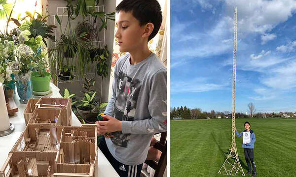 12χρονος έφτιαξε τον πιο ψηλό πύργο με ξυλάκια παγωτού στον κόσμο (pics)