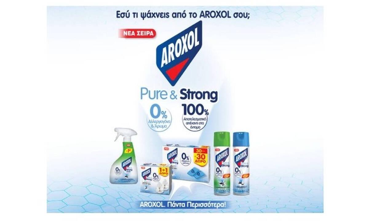 AROXOL pure & strong για 100% προστασία  από τα έντομα με 0% αλλεργιογόνα και 0% άρωμα