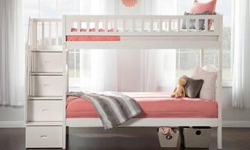 Παιδικά κρεβάτια για κορίτσια που μοιράζονται το ίδιο δωμάτιο (εικόνες)