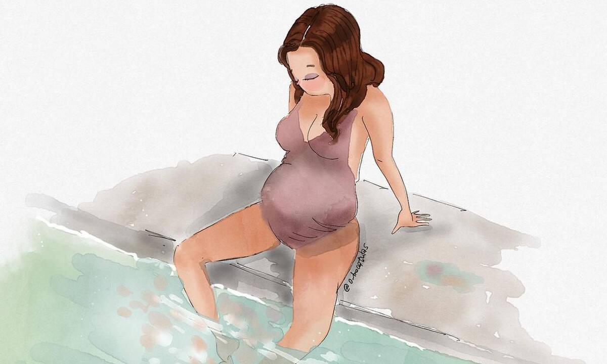 Σκίτσα που δείχνουν την ομορφιά της εγκυμοσύνης (εικόνες)