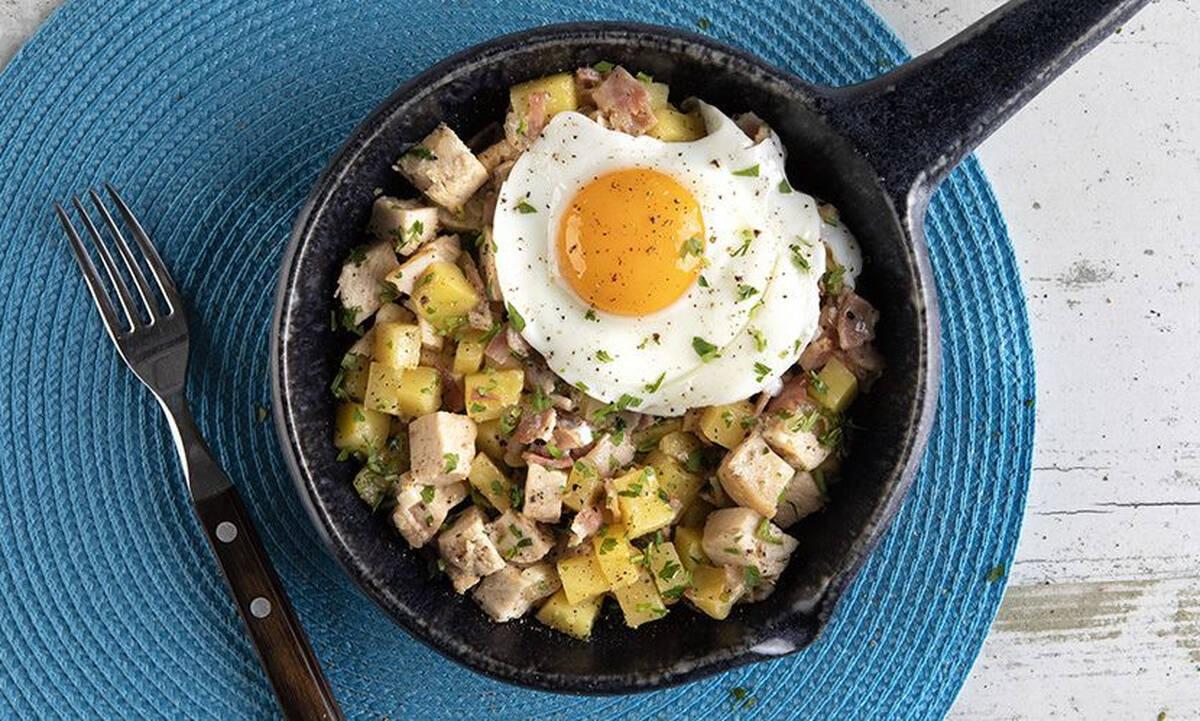 Τηγανιά με κοτόπουλο, πατάτες και αβγά - Γρήγορο και πεντανόστιμο φαγητό