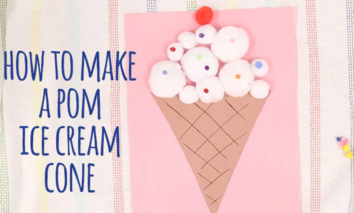 Καλοκαιρινές χειροτεχνίες για παιδιά: Φτιάξτε παγωτό χωνάκι με βαμβάκι