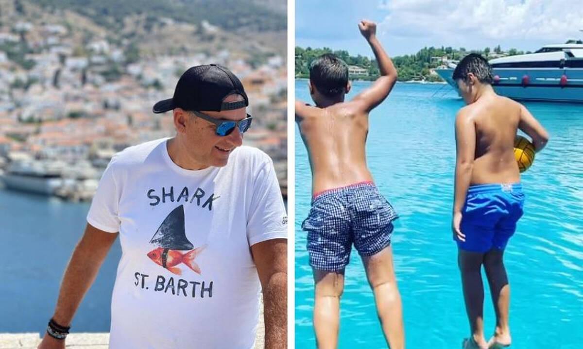 Γιώργος Λιάγκας: Φωτογραφίες από τις διακοπές με τους γιους του