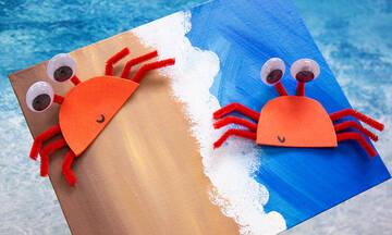 Καλοκαιρινές χειροτεχνίες για παιδιά: Φτιάξτε καβουράκια με χαρτόνι