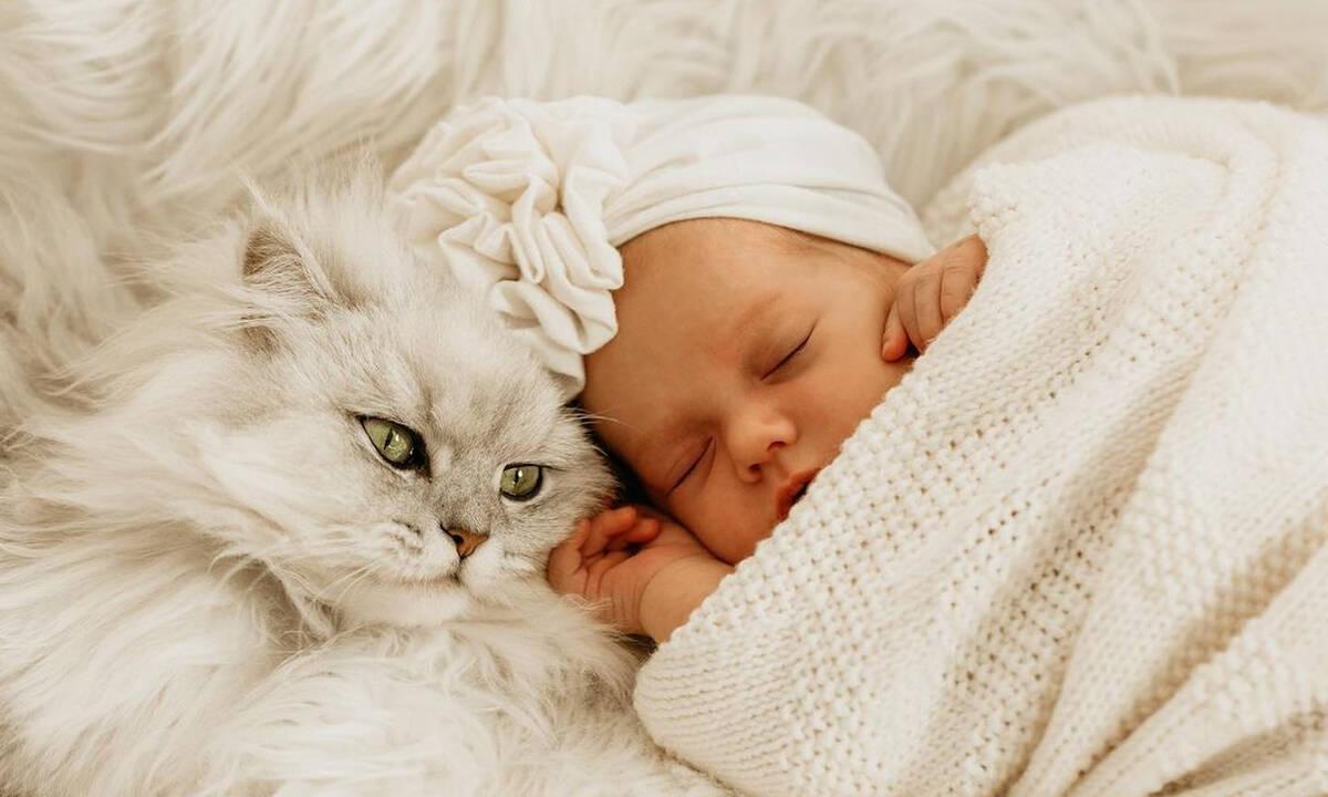 Μωράκια ποζάρουν στο φωτογραφικό φακό με τη γάτα τους