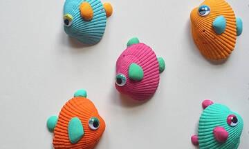Καλοκαιρινές χειροτεχνίες για παιδιά: Φτιάξτε ψαράκια με κοχύλια