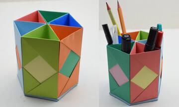 Back to school: Φτιάξτε μία πολύχρωμη μολυβοθήκη με την μέθοδο origami