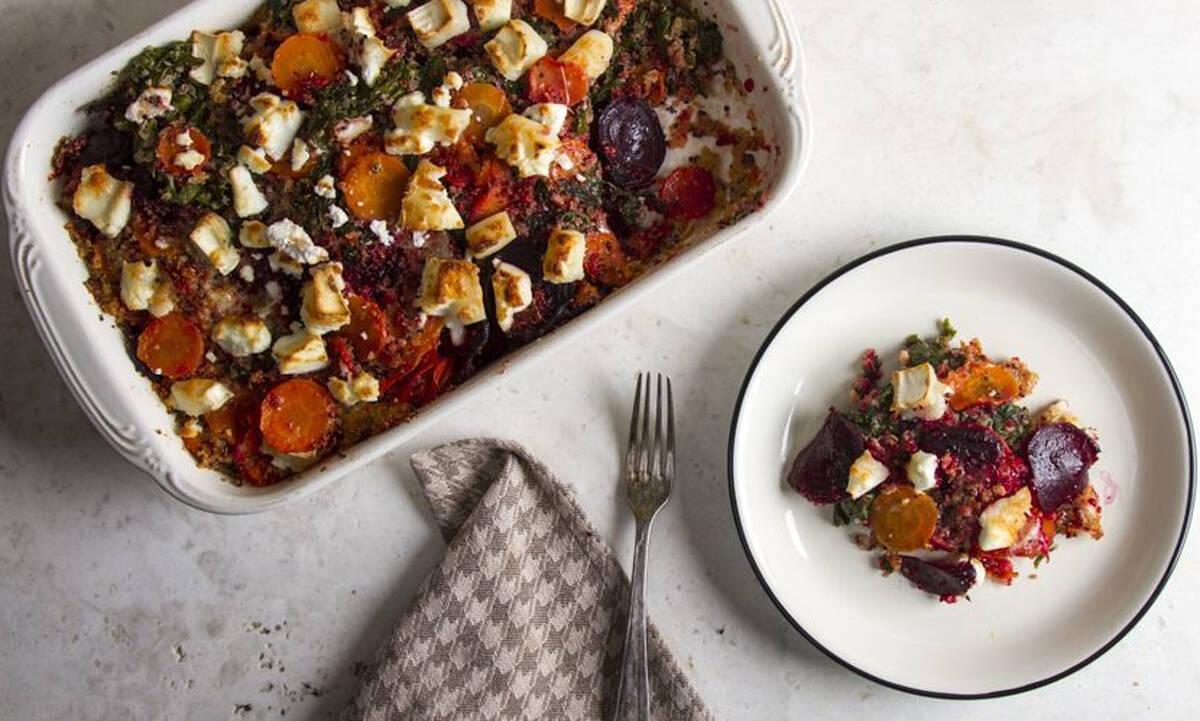 Ψητά λαχανικά με κέιλ και κατσικίσιο τυρί - Υγιεινό και νόστιμο φαγητό