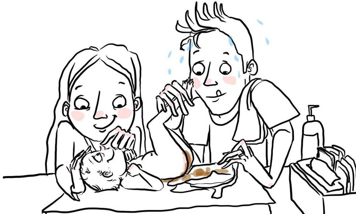 Τι μπορεί να συμβεί όταν αλλάζετε πάνα στο μωρό; Δείτε τα αστεία σκίτσα